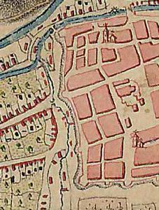 A nyugati városfal előtt csörgedező házsongárdi Cigánypatak az 1763–1785. évi térképen. Középen, a Monostorkapu előtt, a patak hídja.