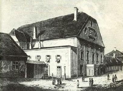 A Farkas utcai színház (A XIX. század közepén készült rajz alapján. OSzK Színháztörténeti Tár)