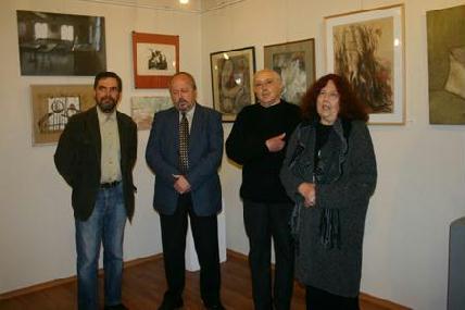 Kolozsi Tibor, Dáné Tibor Kálmán, Jakobovits Miklós  és Németh Júlia a megnyitón – FOTÓ: HORVÁTH LÁSZLÓ