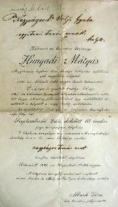 Vályi Gyula hagyatékában található eredeti okirat