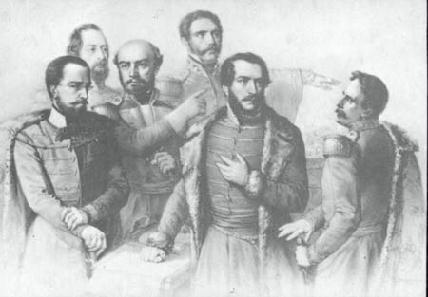 Magyarország utolsó támaszai – a rézmetszet Párizsban jelent meg 1849-ben, balról jobbra haladva Görgey Artúr, Perczel Mór, Bem József, Dembinski Henrik, Kossuth Lajos és Aulich Lajos látható rajta