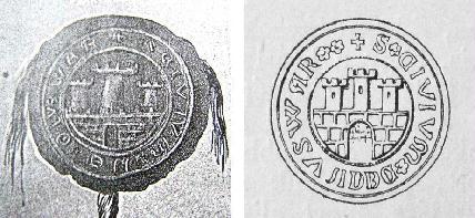 Balra a szűcs céh 1369. évi oklevelének pecsétje. A címerek eltörlése.,, Új címerek. Jobbra a királyi megerősítés évéből, 1377-ből való pecsétnyomó. A három tornyon egy-egy ablak jelent meg.