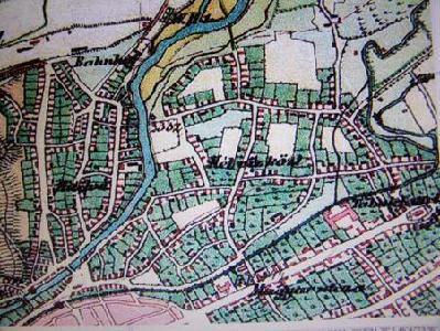 A Kétvízköz az 1870 körüli felmérés alapján készült katonai térképen. Az előző térkép készítésétől eltelt száz év alatt a városnak ez a része kiterjedt észak és kelet felé