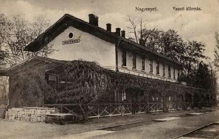 A nagyenyedi vasútállomás a 20. század elején (korabeli képeslap