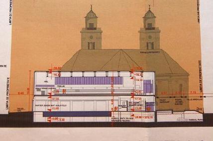 A kétágú templom mögötti sportlétesítmény terve (Rohonyi D. Iván felvétele)